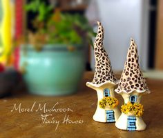 Fairy Mushroom Houses  TWO Morel Mushroom Style by bewilderandpine