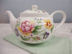 St. George Small Floral Bone China Teapot by AllDressedUpHome