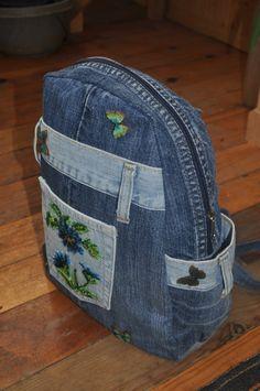 Blue denim Backpack medium with beaded cornflowers