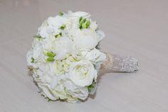 Vintage burlap bouquet wrap. Designed by Amour Flowers
