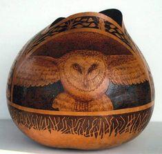 """*Gourd Art - """"Owl"""" by Bill Decker"""