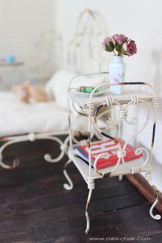 Doll Miniature Rustic Bedside Table/Nightstand in 1/6 scale (Blythe, 12'' Fashion Royalty dolls, Pullip, Obitsu, BJD, YOSD, Barbie, Momoko, Bratz)