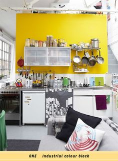 Tiny kitchen, yellow wall