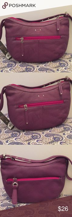 "Stone Mountain Leather, Small Purple Purse - NWT NWT. Stone Mountain Leather. Purple in Color with Hot Pink Zippers Front, Back, and Top. Pink Interior With Zippered Pocket. Interior also has Pleated Pocket for Small Cell Phone Or Make-Up. Shoulder Strap is Short so Purse Tucks Under Your Arm. Measures 10""Wx6.5""H. Stone Mountain Accessories Bags Shoulder Bags"