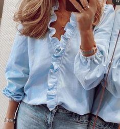 V Neck Long Sleeves Standard Women's Print Slim Blouse - Trend Fashion, Fast Fashion, Spring Shirts, Spring Blouses, Stylish Shirts, Blouse Designs, Blouses For Women, Ideias Fashion, Couture
