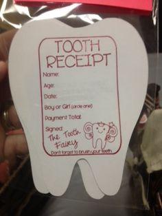 Tooth Fairy Receipt- cute ideas for kids