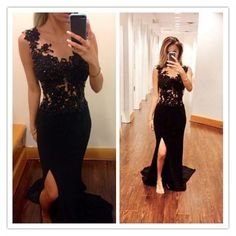 Long Lace Sleeveless Prom Gown Illusion Neckline pst0030 on Storenvy