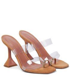 Amina Muaddi - Sami suede and PVC sandals | Mytheresa Toe Rings, Shoe Closet, Brown Suede, Luxury Fashion, Footwear, Sandals, Heels, Martini, Label
