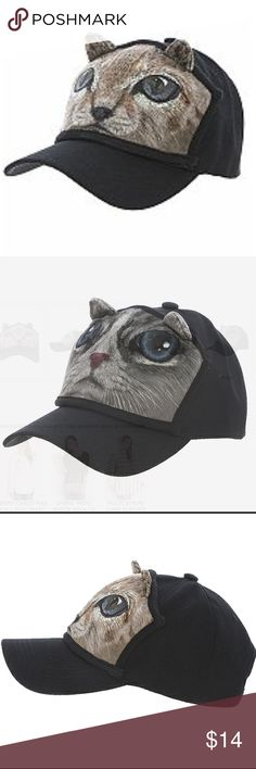 Kitty Cap, Brown and Grey, one each For all the cat lovers! These are so cute and make perfect gift for any ailurophile.  Adult size, adjustable back strap. Polyester. Hand wash cold. Accessories Hats