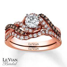 le vian chocolatier 14k strawberry gold   Le Vian Bridal Set 7/8 ct tw Diamonds 14K Strawberry Gold