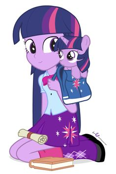 Twilight sparkle equestria girls and her pony.