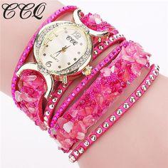 CCQ New Fashion Leather Bracelet Women Rhinestone Quartz Watches Ladies Luxury Wrist Watch Relogio Feminino Gifts 1776