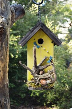 Rustic Birdhouse Handmade for Garden Birds by BirdhousesByMichele