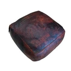 Vintage leather poef poof Dimensions: Ca. 47 X 47 cm Height 26 cm