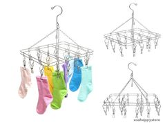 Laundry Drying Hanger Rack Clothes Towels Shoes Hanging Stainless Steel Clip New #MyGift