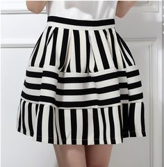 Cheap Hace punto del este EA 002 2014 verano nueva falda plisada cintura alta negro raya blanca de la falda sml XL más el tamaño, Compro Calidad Faldas directamente de los surtidores de China: