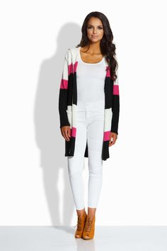 Cardigan de dama modern in dungi cu maneci lungi si gluga.#cardigancugluga White Jeans, Pants, Fresh, Modern, Fashion, Tricot, Trouser Pants, Moda, Trendy Tree