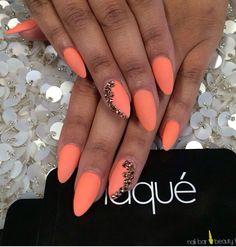 Matte coral, rose gold Swarovski nails