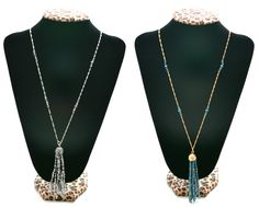 This beaded tassel necklace comes in silver & blue/ gold!