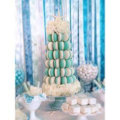 Macaron Tower. Beach Wedding. Nautical Wedding. Starfish. Confection Table. Custom Confections. Summer Weddings. #VillageIndulgence @Kerricupcake on Instagram