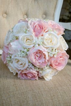 Romantic wedding bouquet of ivory and blush pink silk. Made with : Romantic wedding bouquet of ivory and blush pink silk. Silk Bridal Bouquet, Silk Wedding Bouquets, Blush Bouquet, Bride Bouquets, Flower Bouquet Wedding, Bouquet Flowers, Wedding Blush, Wedding Makeup, Prom Flowers