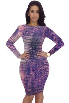 Hot Sexy Club 2014 New Summer Women girl print dress brand Casual Bandage Dress Bodycon Purple Party Dresses YH031 $13.99
