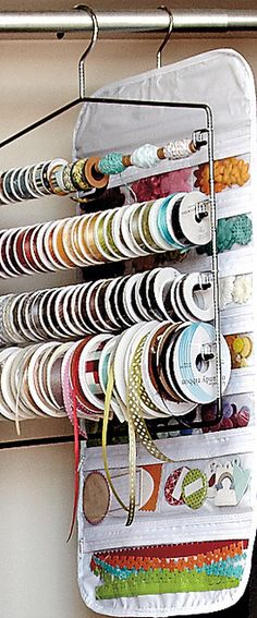 #papercraft #crafting supply #organization: pants hanger ribbon storage -or- deco tape storage