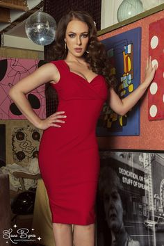 Pinup Couture Erin Wiggle Dress in Red