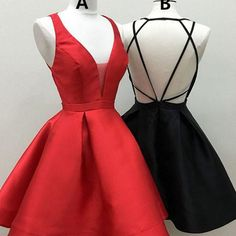 Short red homecoming dress, little black homecoming dress