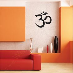 ohm painted on wall in the hall