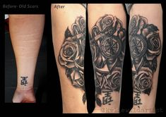 f9a796ea7cf83 Self Harm Forearm Scars Tattoo Cover up, black and Grey Roses, Anchor and  compass by Kylie Wild Heslop Tattoo Artist based in Canberra, Australia