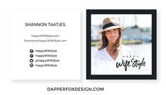 Business Card Design by Dapper Fox Design. Happy WifeStyle Branding and Logo Design. Modern business card design, blog design, blogger business card