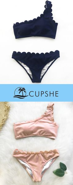 Each precious piece at Cupshe is exquisitely designed for the unique you. Wavy edge and one-shoulder design fully display your personality. Back hook closure and padding bra provide you strong support. Check out with Free shipping!