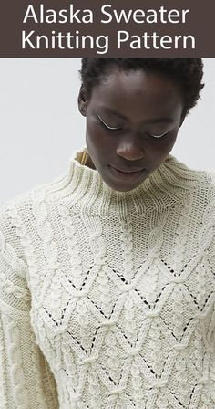 Knitting Pattern for Alaska Sweater - Long-sleeved pullover sweater featuring cables and diamond motifs with a high ribbed collar. To Fit Bust : 81-86 92-97 102-107 112-117 cm (32-34 36-38 40-42 44-46 in). Aran weight yarn. Designed by Debbie Bliss