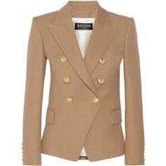 Balmain Double-breasted basketweave cotton blazer ($1,740) ❤ liked on Polyvore featuring outerwear, jackets, blazers, blazer, пиджак, coats & jackets, brown, beige jacket, brown jacket and brown blazer