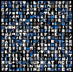 """ALPHATECTURE WORDSEARCH: """"Made up of 400 images of sky letters, this is based on the classic wordsearch formula and contains approximately 90 words related to architecture that run vertically, diagonally or horizontally."""" http://www.peterdefty.com/Site/PRINT_SALES.html"""