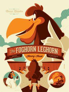 The Foghorn Leghorn (variant) poster by Tom Whalen / Mondo Tom Whalen, Cartoon Posters, Cartoon Characters, Cartoon Logo, Movie Posters, Gallo Claudio, Poster Minimalista, Foghorn Leghorn, Merrie Melodies