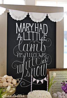precious vintage nursery rhyme baby shower by Dear Lillie ... love this chalk art