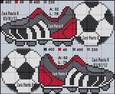 Billedresultat for punto cruz bebes futbol Cross Stitch Letters, Cross Stitch For Kids, Cross Stitch Baby, Cross Stitch Charts, Beading Patterns, Embroidery Patterns, Stitch Patterns, Cross Stitching, Cross Stitch Embroidery