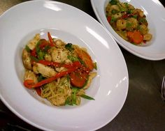 Chicken Stir Fry and Shrimp Stir Fry - noodles, broccoli, napa cabbage, red and yellow peppers, carrots, green onions, mushrooms