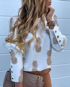 Elegant Metal Buttons Puff Sleeve Blouse Shirts Women Autumn Casual Plus Size O-Neck Long Sleeve Slim Letter Pineapple Print Top Trend Fashion, Look Fashion, Fashion Outfits, Womens Fashion, White Fashion, Fashion Blouses, Fashion Skirts, Lolita Fashion, Fashion Styles
