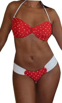 Bellamia Bikinis Womens Bandeau Top Bikini Set with Ruched Bottomred pocodotsSmall ** Check out the image by visiting the link.  This link participates in Amazon Service LLC Associates Program, a program designed to let participant earn advertising fees by advertising and linking to Amazon.com.