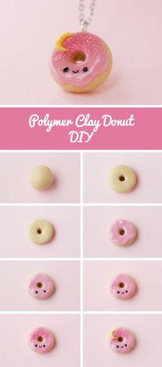 How to make a cute donut with polymer clay | Лепим милый пончик из полимерной глины