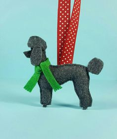 Poodle Felt Dog Ornament Handcrafted Poodle by ZillyGrilDesigns