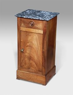 Nicely figured marble top over a single drawer with turned knob. Curl walnut door below, fitted with a brass turn buckle. Marble Top, Decor, Bedside Cupboard, Commode, Furniture, Walnut Doors, Cupboard, French Pot, Bedroom Furniture