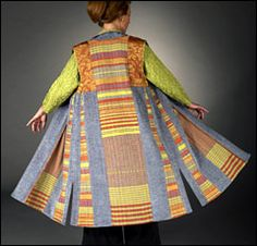 Tibetan Vest by Lynn Yarrington  Limited edition, 15 panels, hand woven bamboo, rayon and silk; silk lining, silk patterned pipings and inside facings
