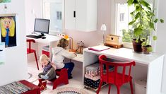 Shared workspace for adults and children. Cute setup for as the girls get older and need workscapes