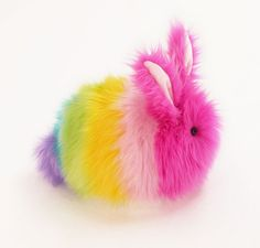 Girly Rainbow Bunny Stuffed Plush Toy