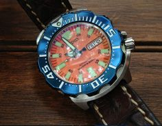 Seiko Orange Monster Modified with Blue Bezel and Leather Strap Seiko Monster, Vintage Watches, Citizen, Japanese, Orange, Leather, Blue, Accessories, Clocks