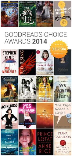 Here are Goodreads Choice Awards 2014 - the best books of the year decided by readers, in 20 categories, including fiction, romance, YA,  and memoir.